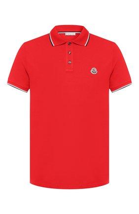Мужское хлопковое поло MONCLER красного цвета, арт. E2-091-83456-00-84556   Фото 1