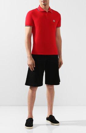 Мужское хлопковое поло MONCLER красного цвета, арт. E2-091-83456-00-84556   Фото 2