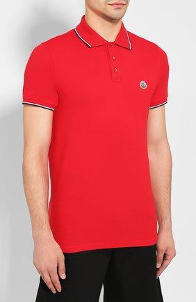 Мужское хлопковое поло MONCLER красного цвета, арт. E2-091-83456-00-84556   Фото 3
