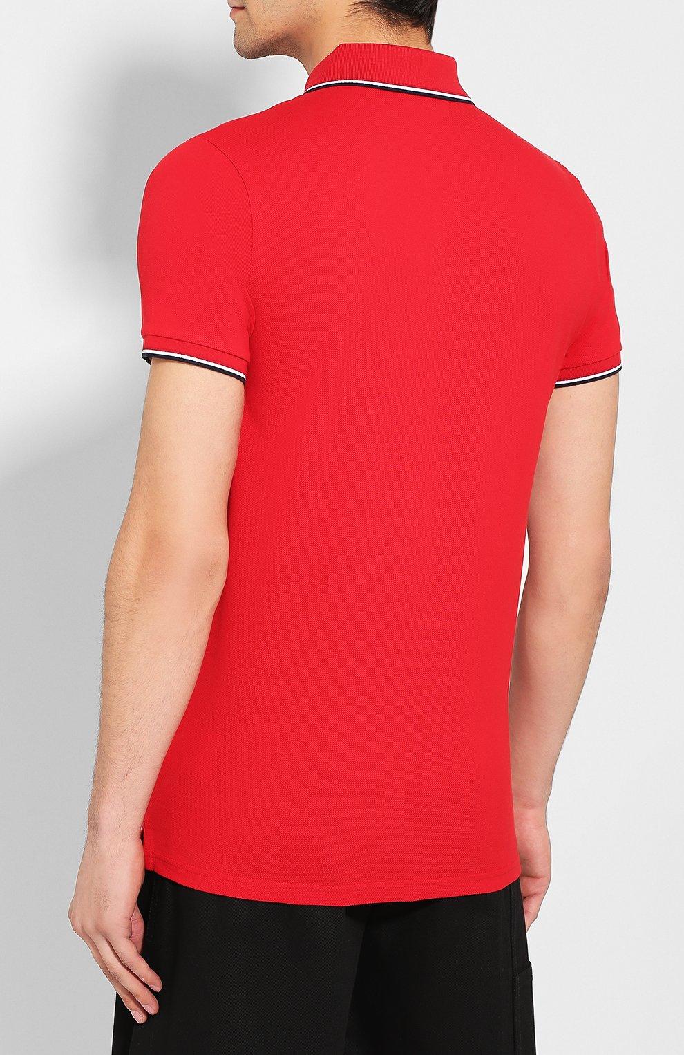 Мужское хлопковое поло MONCLER красного цвета, арт. E2-091-83456-00-84556   Фото 4