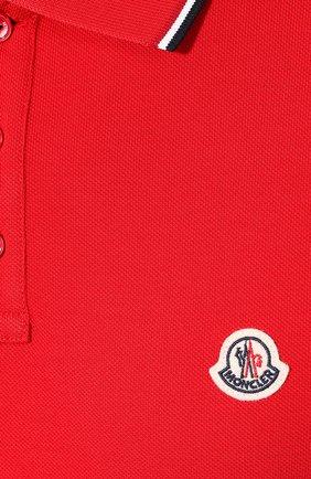 Мужское хлопковое поло MONCLER красного цвета, арт. E2-091-83456-00-84556   Фото 5