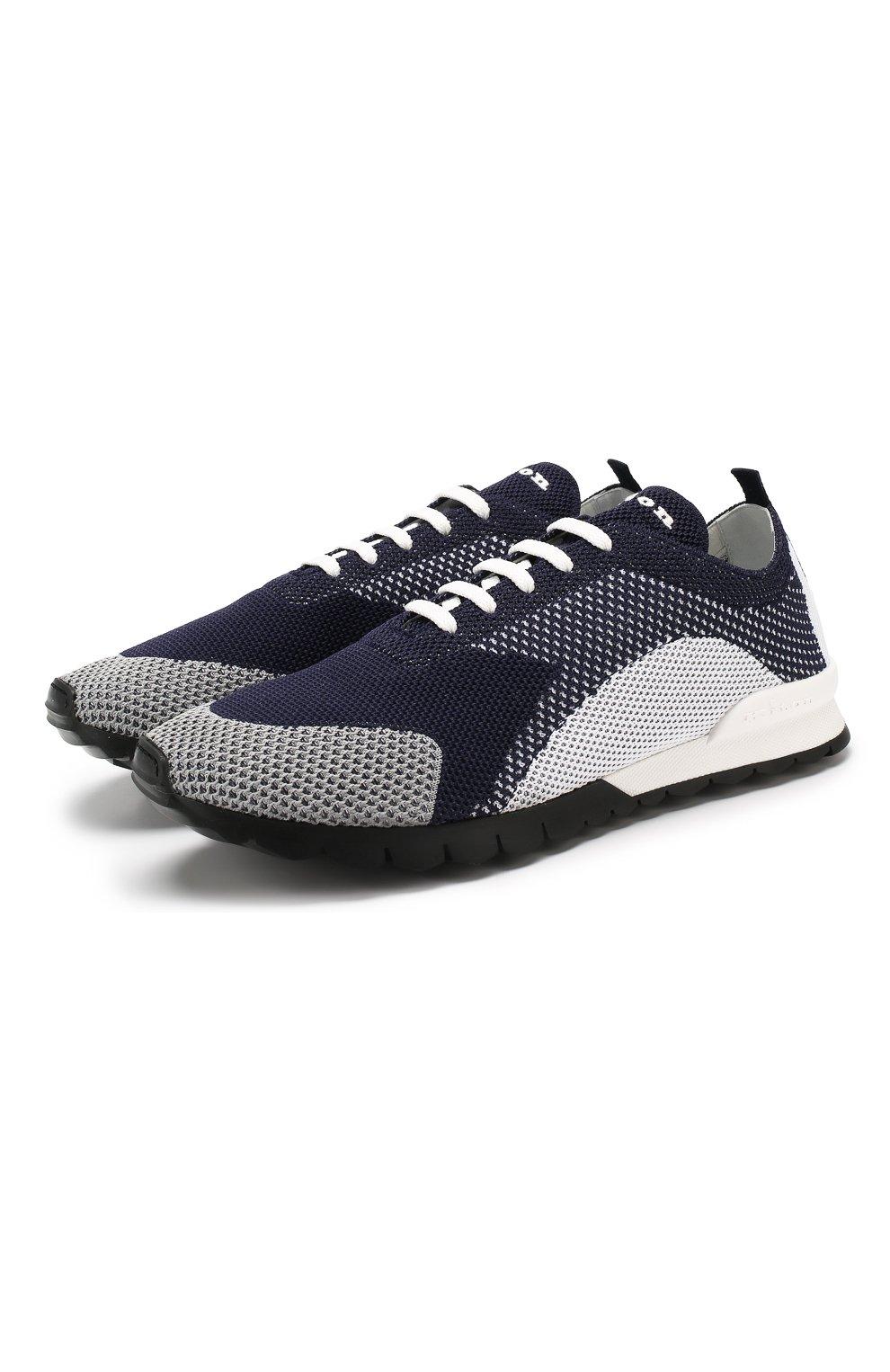 Мужские текстильные кроссовки KITON темно-синего цвета, арт. USSFITN00609040 | Фото 1