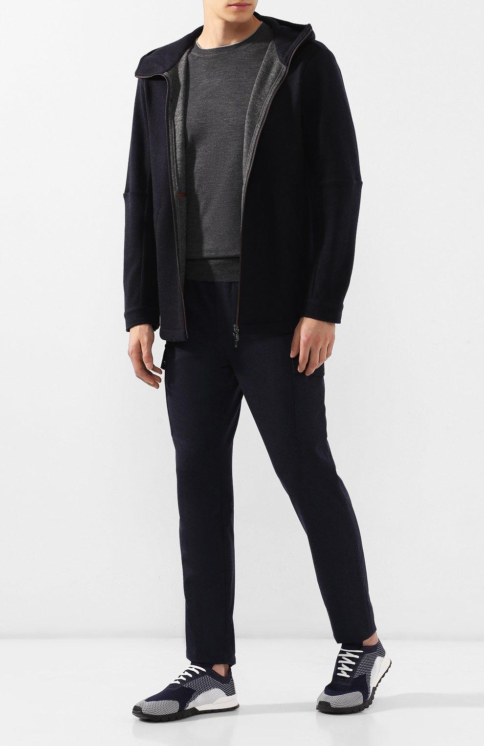 Мужские текстильные кроссовки KITON темно-синего цвета, арт. USSFITN00609040 | Фото 2