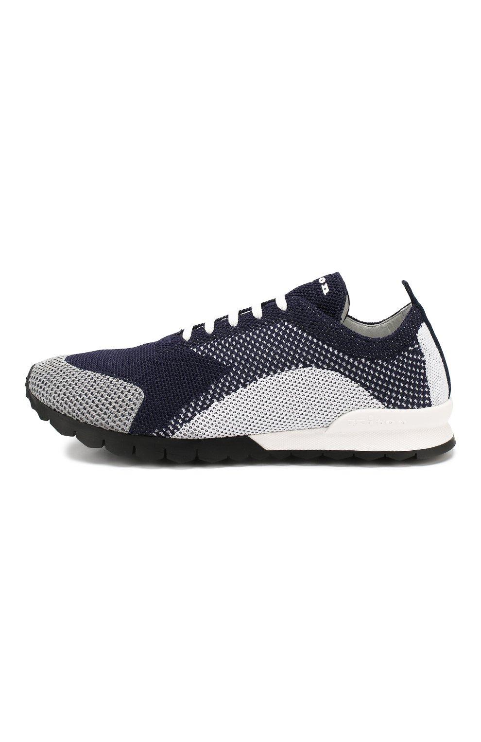 Мужские текстильные кроссовки KITON темно-синего цвета, арт. USSFITN00609040 | Фото 3