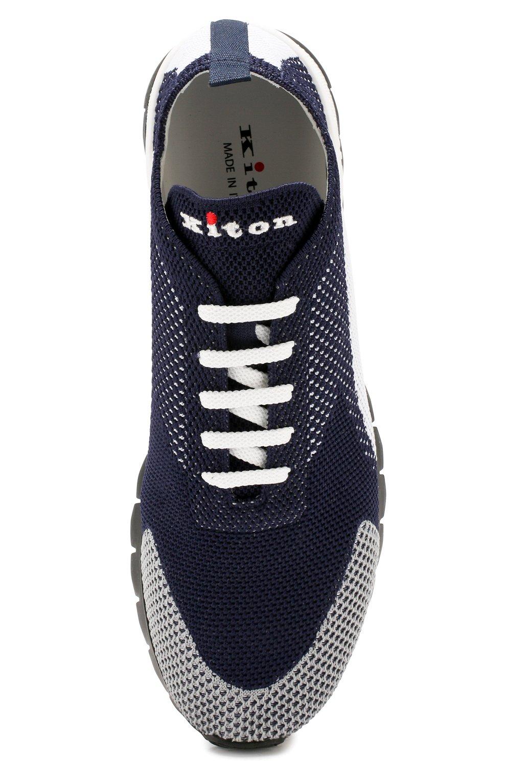 Мужские текстильные кроссовки KITON темно-синего цвета, арт. USSFITN00609040 | Фото 5
