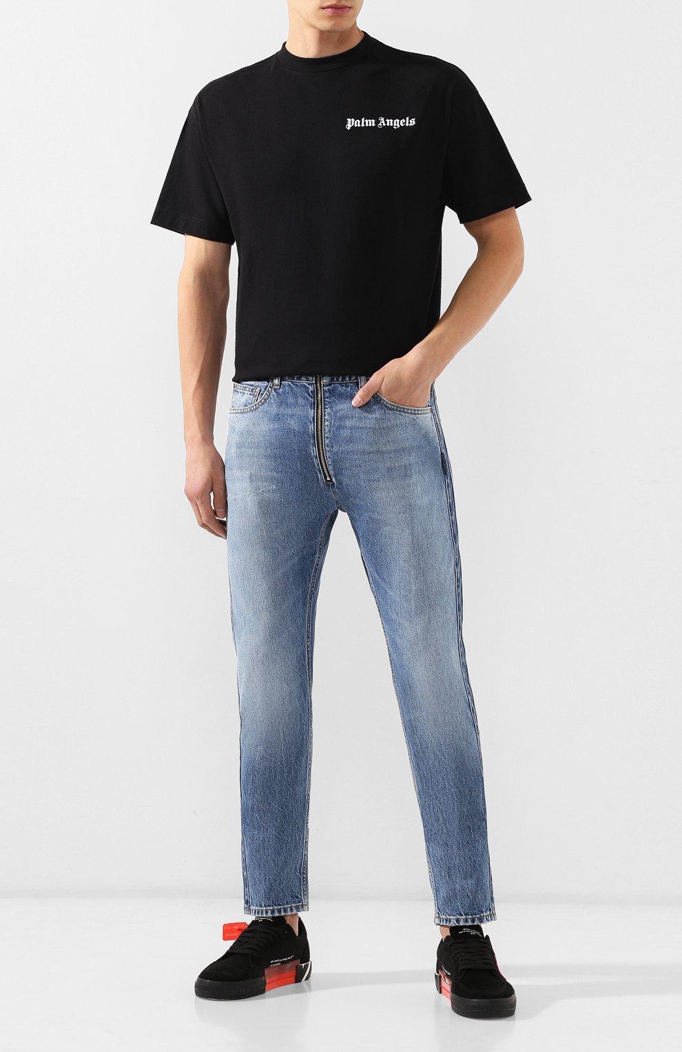 Мужские джинсы PALM ANGELS синего цвета, арт. PMYA013E196380067900 | Фото 2