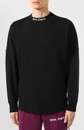 Мужская хлопковый лонгслив PALM ANGELS черного цвета, арт. PMAB001E194130021001 | Фото 3