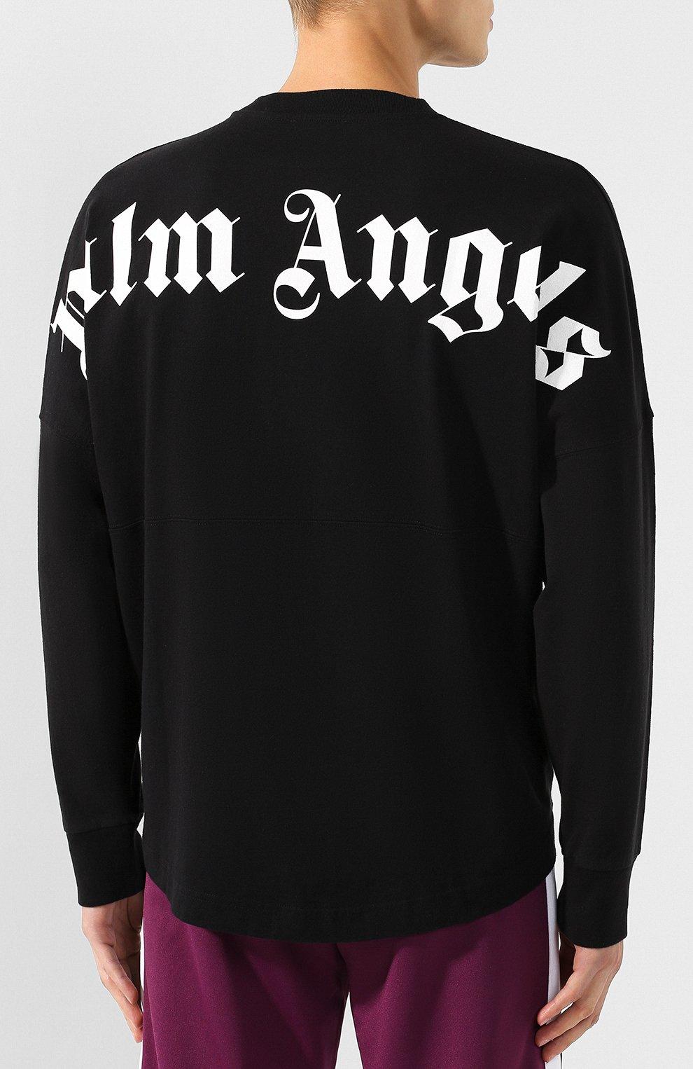 Мужская хлопковый лонгслив PALM ANGELS черного цвета, арт. PMAB001E194130021001 | Фото 4