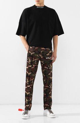 Мужская хлопковая футболка PALM ANGELS черного цвета, арт. PMAA002E194130021001 | Фото 2