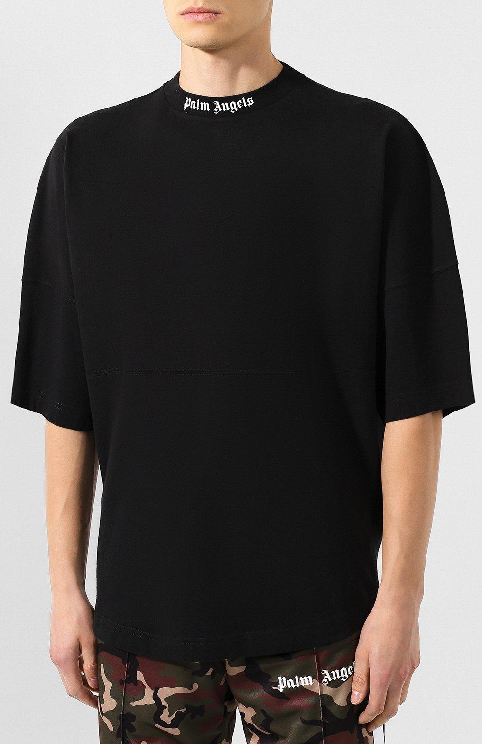 Мужская хлопковая футболка PALM ANGELS черного цвета, арт. PMAA002E194130021001 | Фото 3