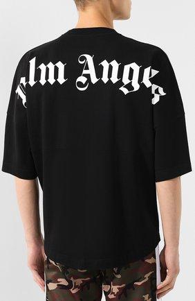 Мужская хлопковая футболка PALM ANGELS черного цвета, арт. PMAA002E194130021001 | Фото 4