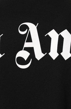 Мужская хлопковая футболка PALM ANGELS черного цвета, арт. PMAA002E194130021001 | Фото 5