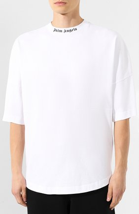 Мужская хлопковая футболка PALM ANGELS белого цвета, арт. PMAA002E194130020110 | Фото 3