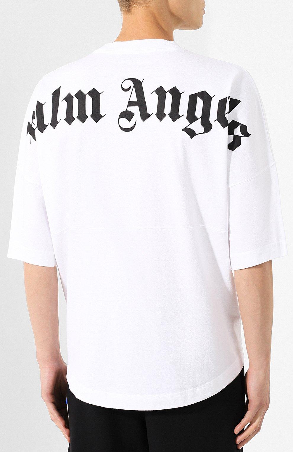 Мужская хлопковая футболка PALM ANGELS белого цвета, арт. PMAA002E194130020110 | Фото 4
