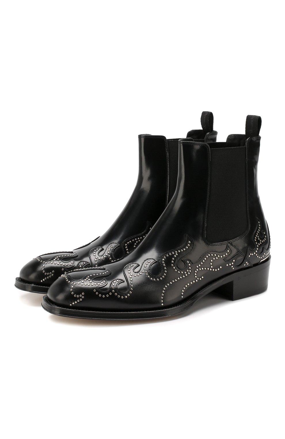 Мужские кожаные челси ALEXANDER MCQUEEN черного цвета, арт. 586179/WHKE3   Фото 1