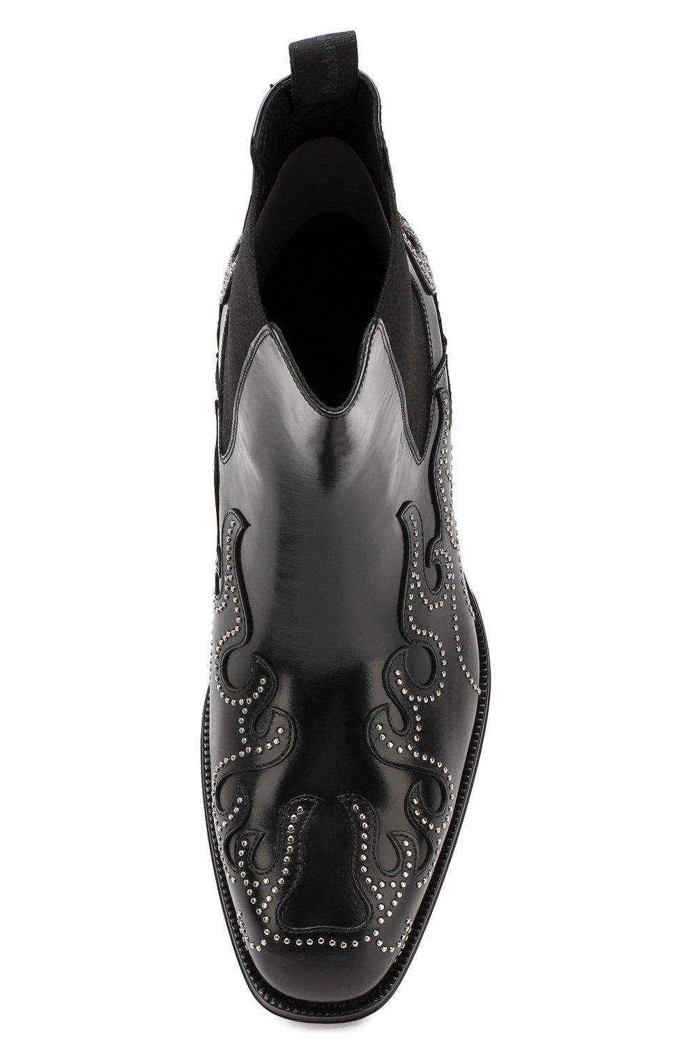 Мужские кожаные челси ALEXANDER MCQUEEN черного цвета, арт. 586179/WHKE3   Фото 5