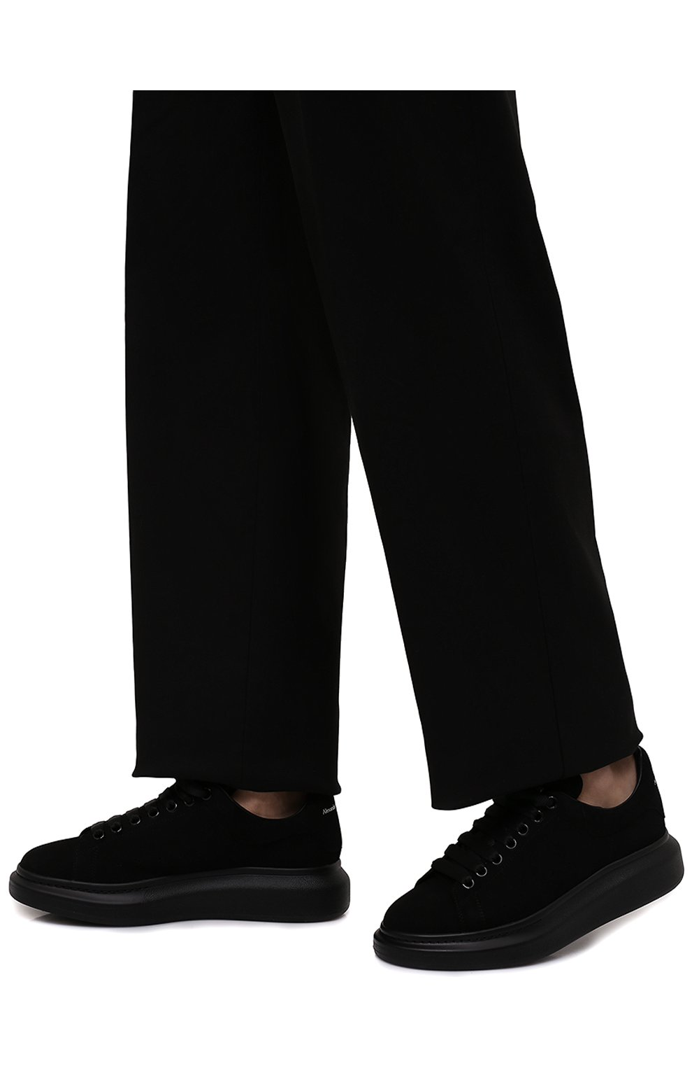 Мужские замшевые кеды ALEXANDER MCQUEEN черного цвета, арт. 553761/WHV67 | Фото 3