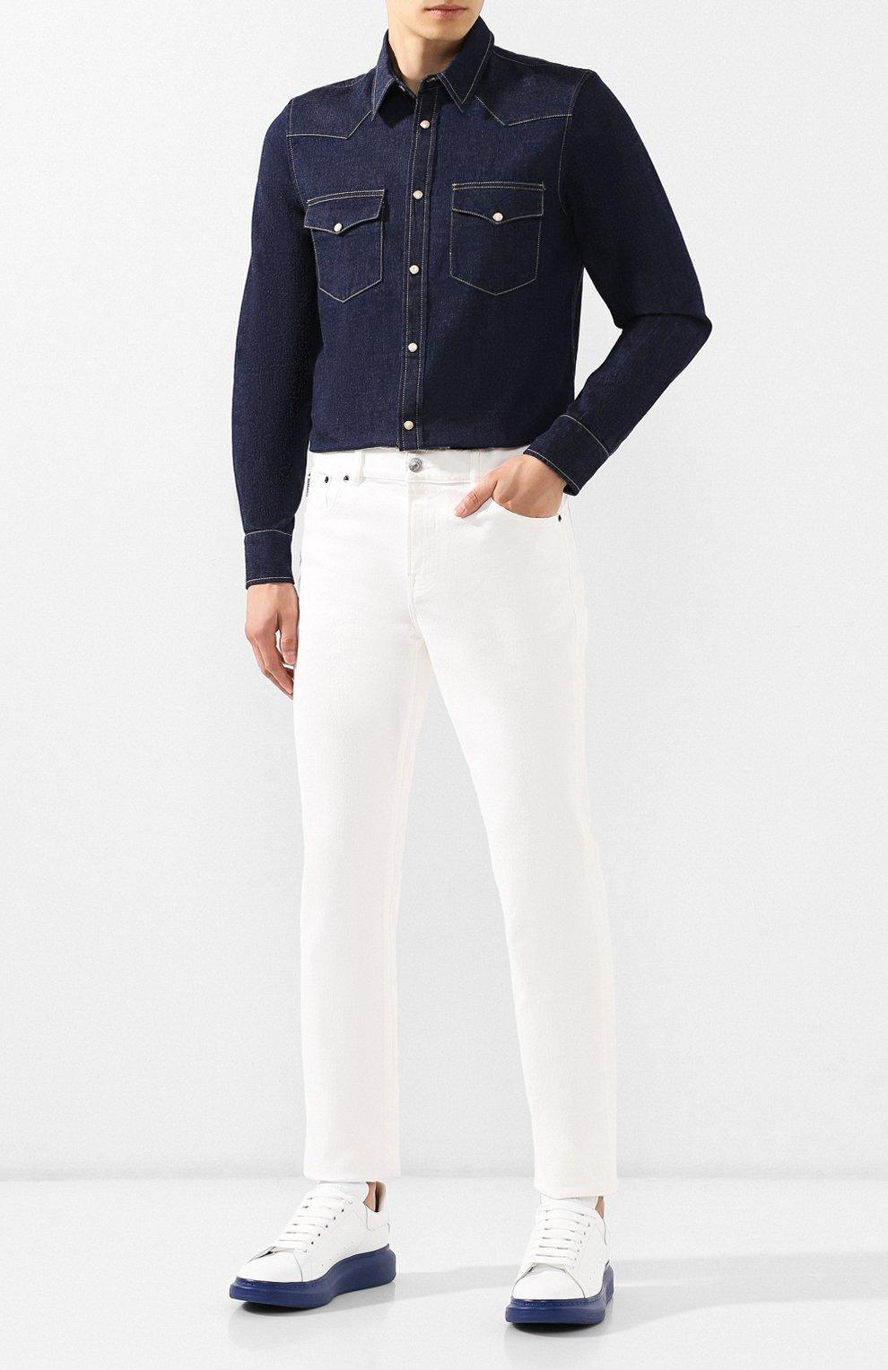 Мужские кожаные кеды ALEXANDER MCQUEEN синего цвета, арт. 553680/WHTQ4 | Фото 2