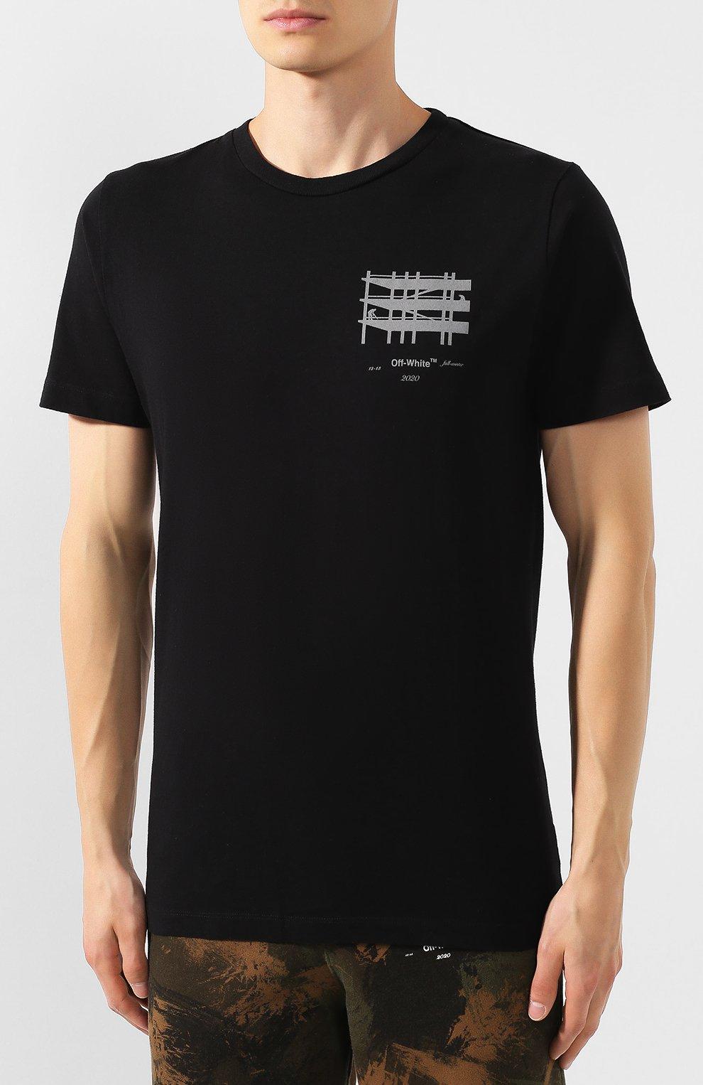 Мужская хлопковая футболка OFF-WHITE черного цвета, арт. 0MAA027E191850041091 | Фото 3