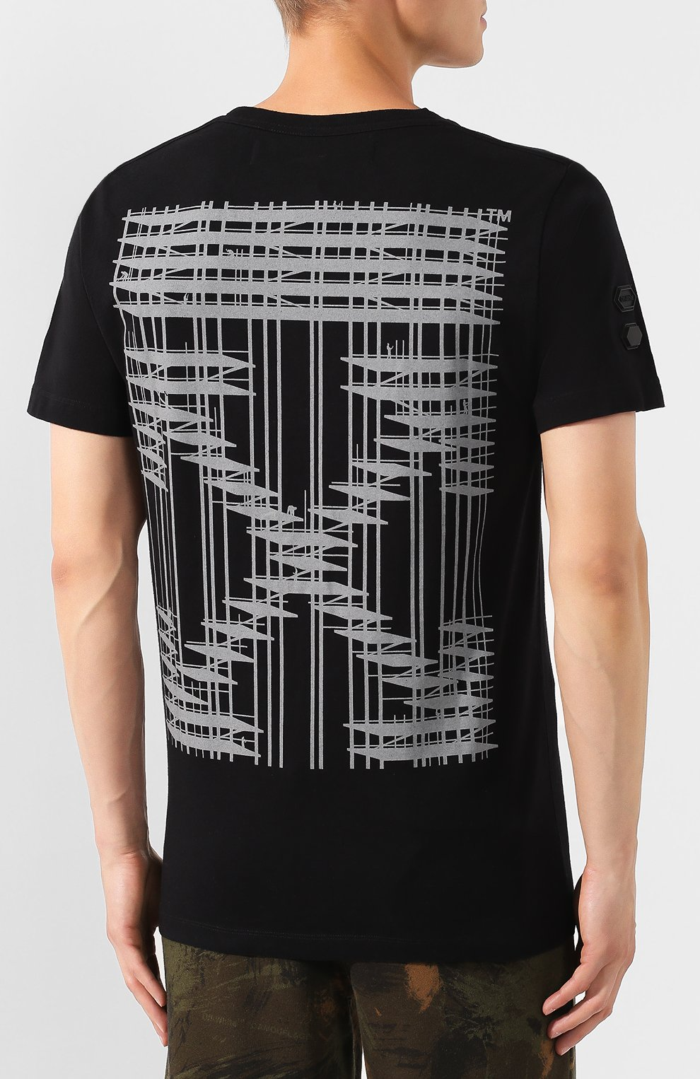 Мужская хлопковая футболка OFF-WHITE черного цвета, арт. 0MAA027E191850041091 | Фото 4