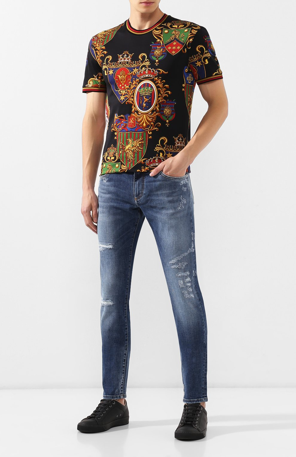 Мужская хлопковая футболка DOLCE & GABBANA разноцветного цвета, арт. G8KC0T/FS778 | Фото 2