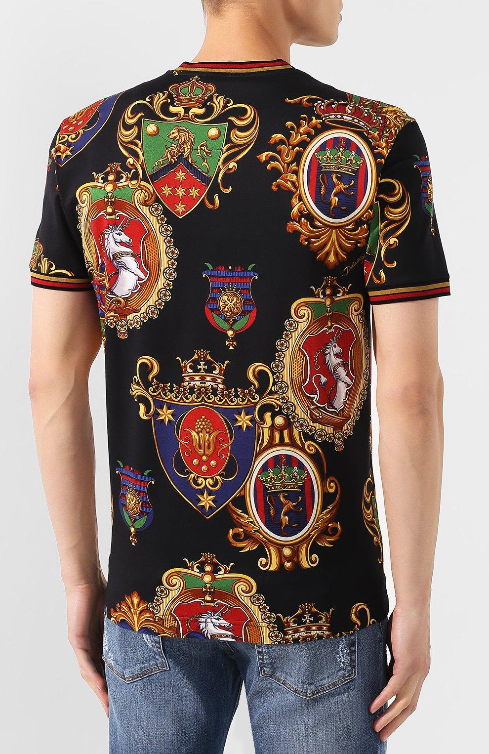 Мужская хлопковая футболка DOLCE & GABBANA разноцветного цвета, арт. G8KC0T/FS778 | Фото 4
