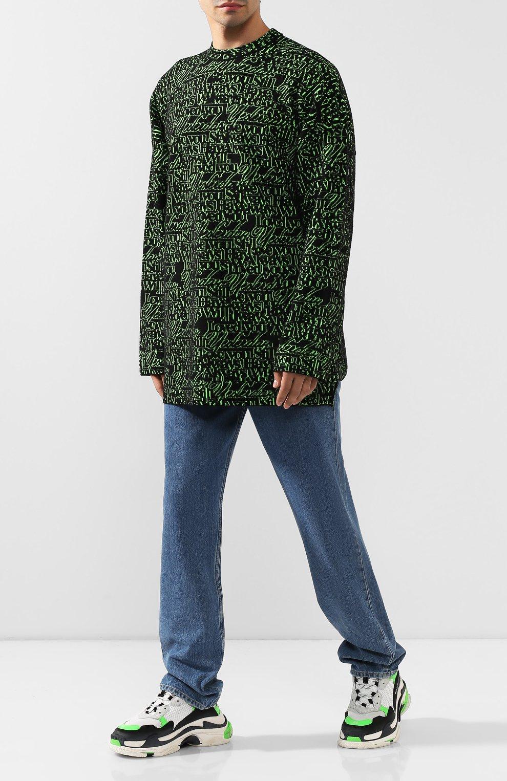 Мужской шерстяной свитер BALENCIAGA зеленого цвета, арт. 583085/T1532 | Фото 2