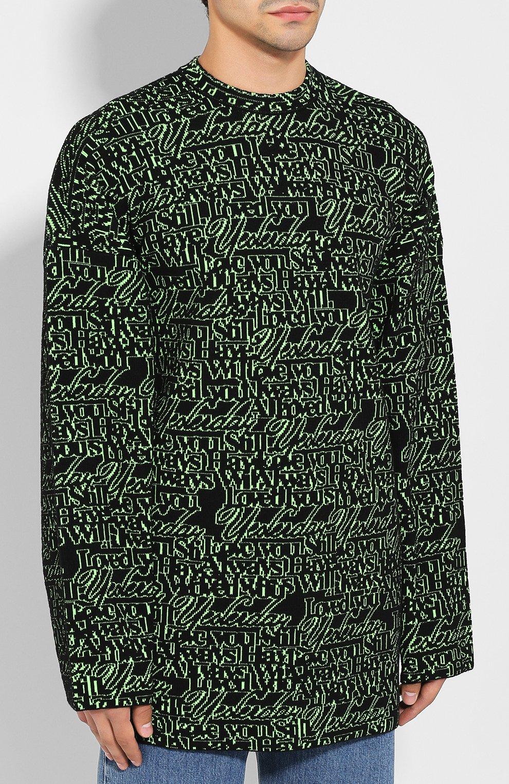 Мужской шерстяной свитер BALENCIAGA зеленого цвета, арт. 583085/T1532 | Фото 3