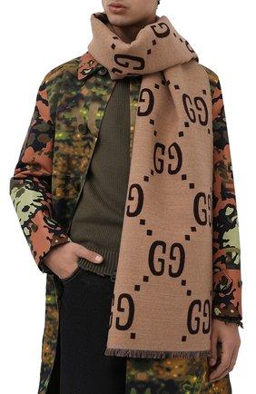 Мужской шарф из смеси шерсти и шелка GUCCI коричневого цвета, арт. 495592/4G350 | Фото 2