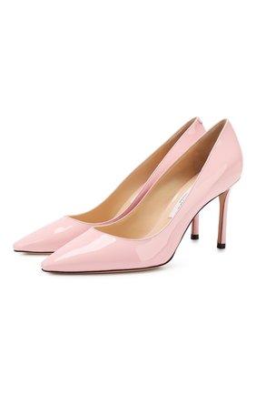 Женская кожаные туфли romy 85  JIMMY CHOO светло-розового цвета, арт. R0MY 85/PAT | Фото 1