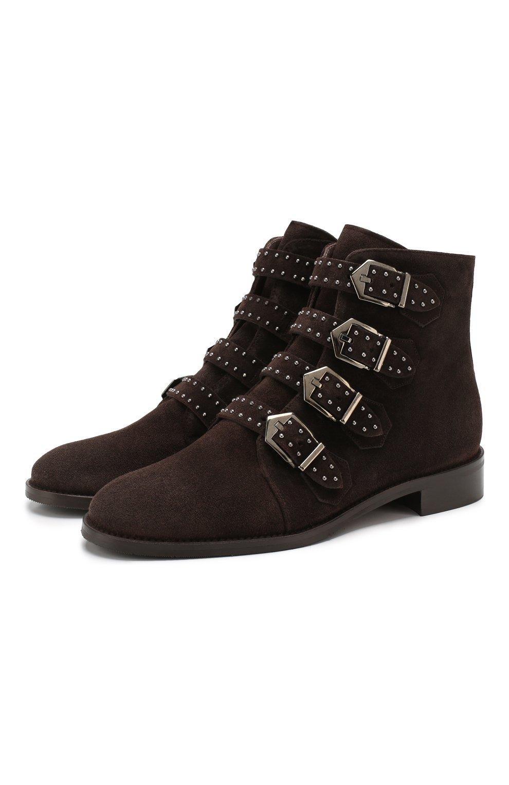 Женские замшевые ботинки PERTINI темно-коричневого цвета, арт. 192W12901C5 | Фото 1