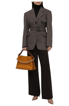 Женская кожаные туфли love 100 JIMMY CHOO бежевого цвета, арт. L0VE 100/PWJ | Фото 2