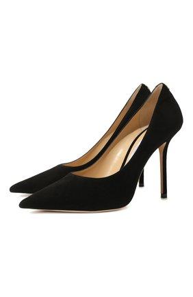 Женская замшевые туфли love 100 JIMMY CHOO черного цвета, арт. L0VE 100/BWJ | Фото 1