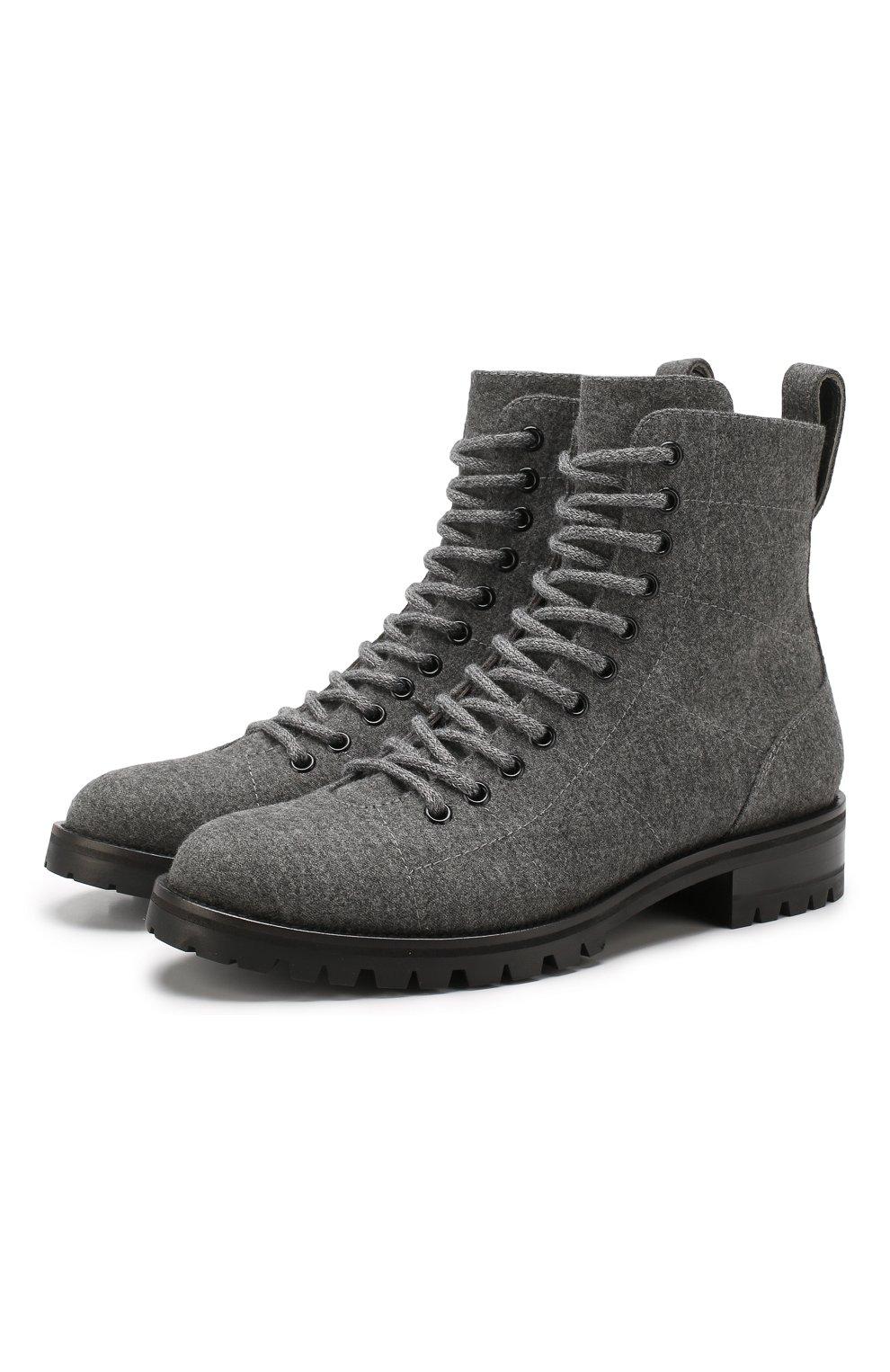Женские текстильные ботинки cruz JIMMY CHOO темно-серого цвета, арт. CRUZ FLAT/FLN | Фото 1