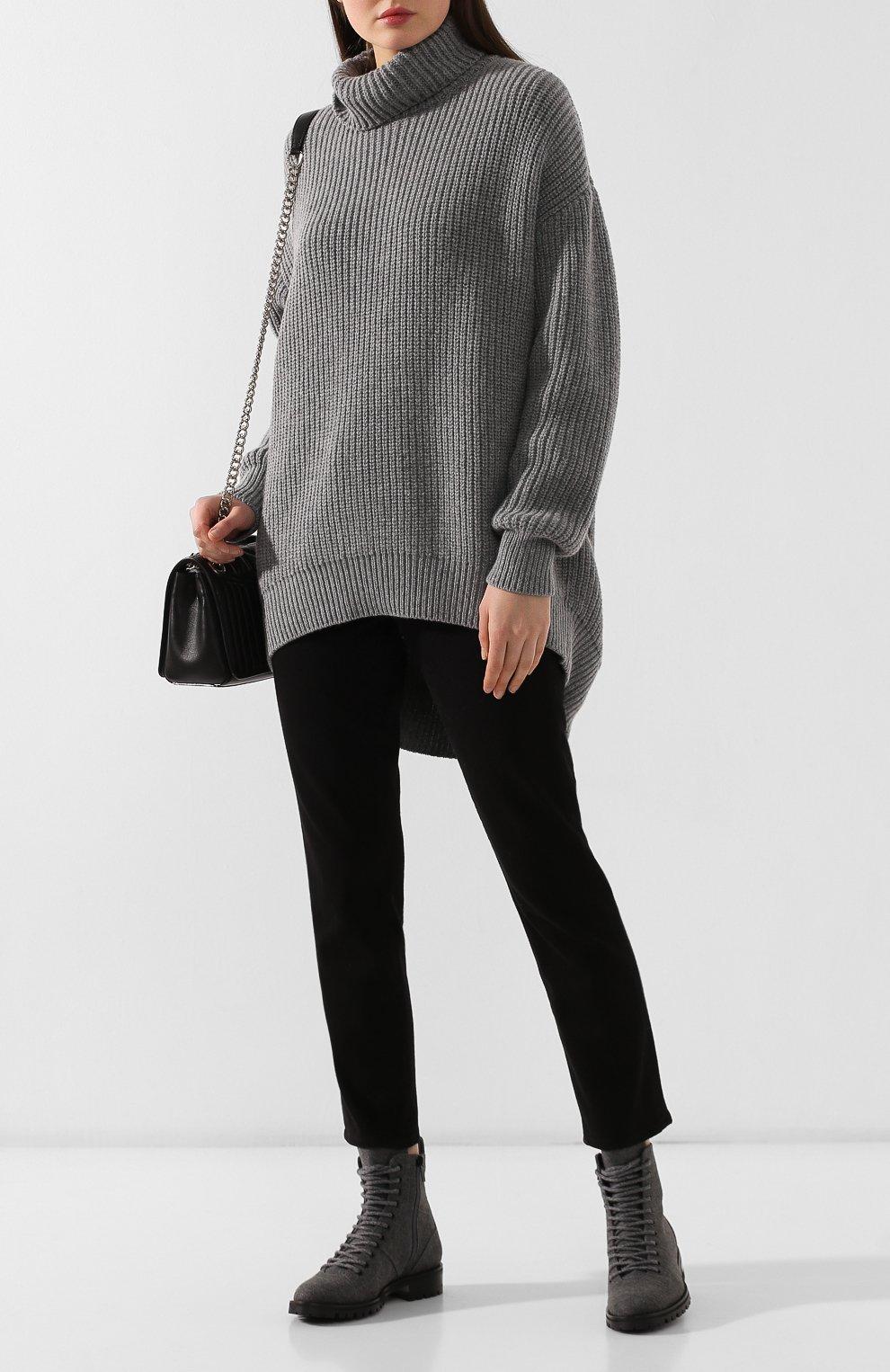 Женские текстильные ботинки cruz JIMMY CHOO темно-серого цвета, арт. CRUZ FLAT/FLN | Фото 2