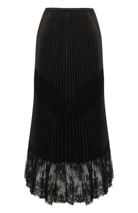 Женская кожаная юбка VALENTINO черного цвета, арт. SB3NI05Z1AW | Фото 1