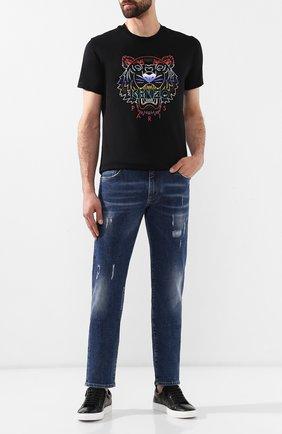 Мужские кожаные кеды HUGO черного цвета, арт. 50414609 | Фото 2