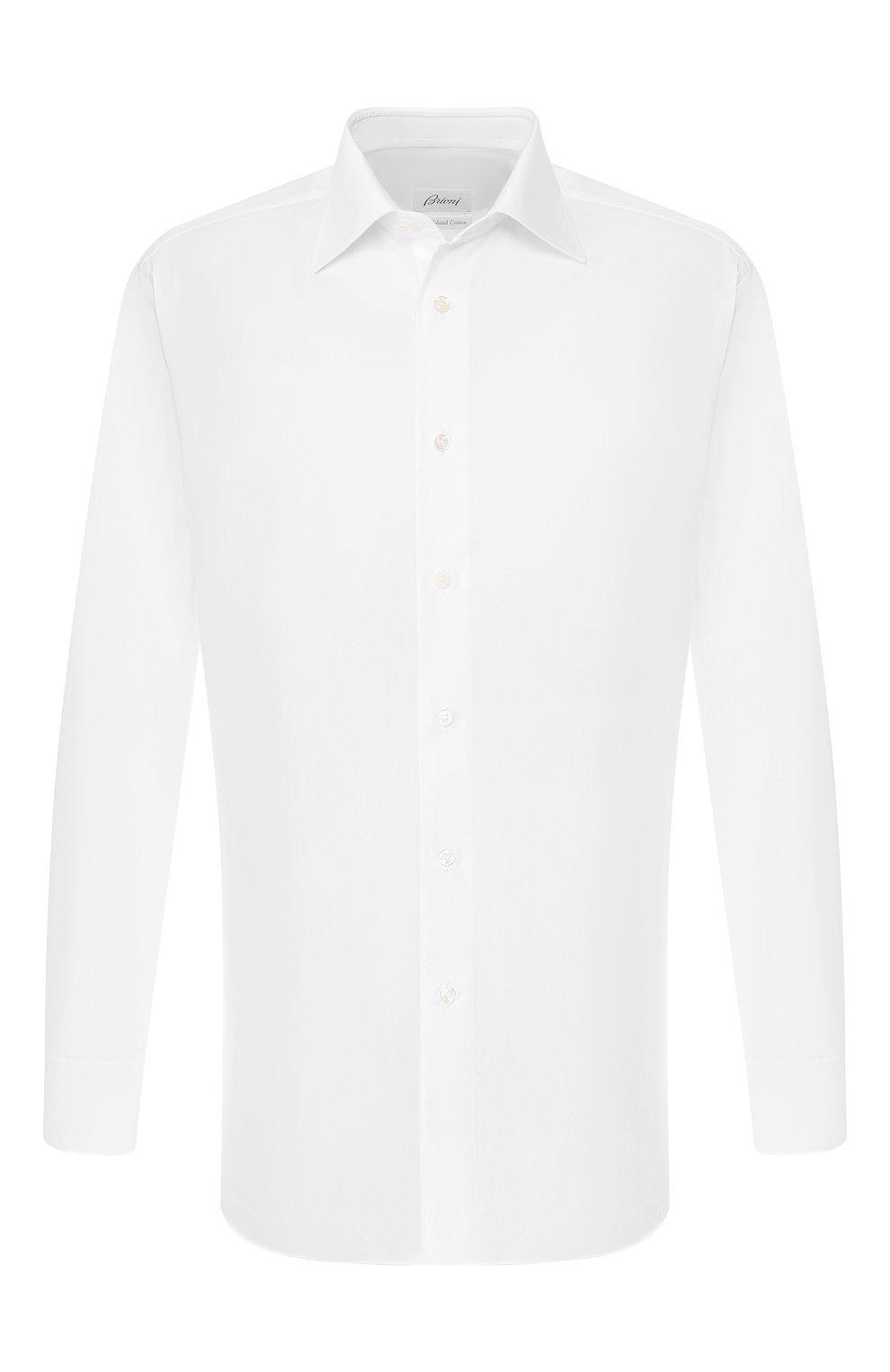 Мужская хлопковая сорочка BRIONI белого цвета, арт. RCLU1S/0804G   Фото 1