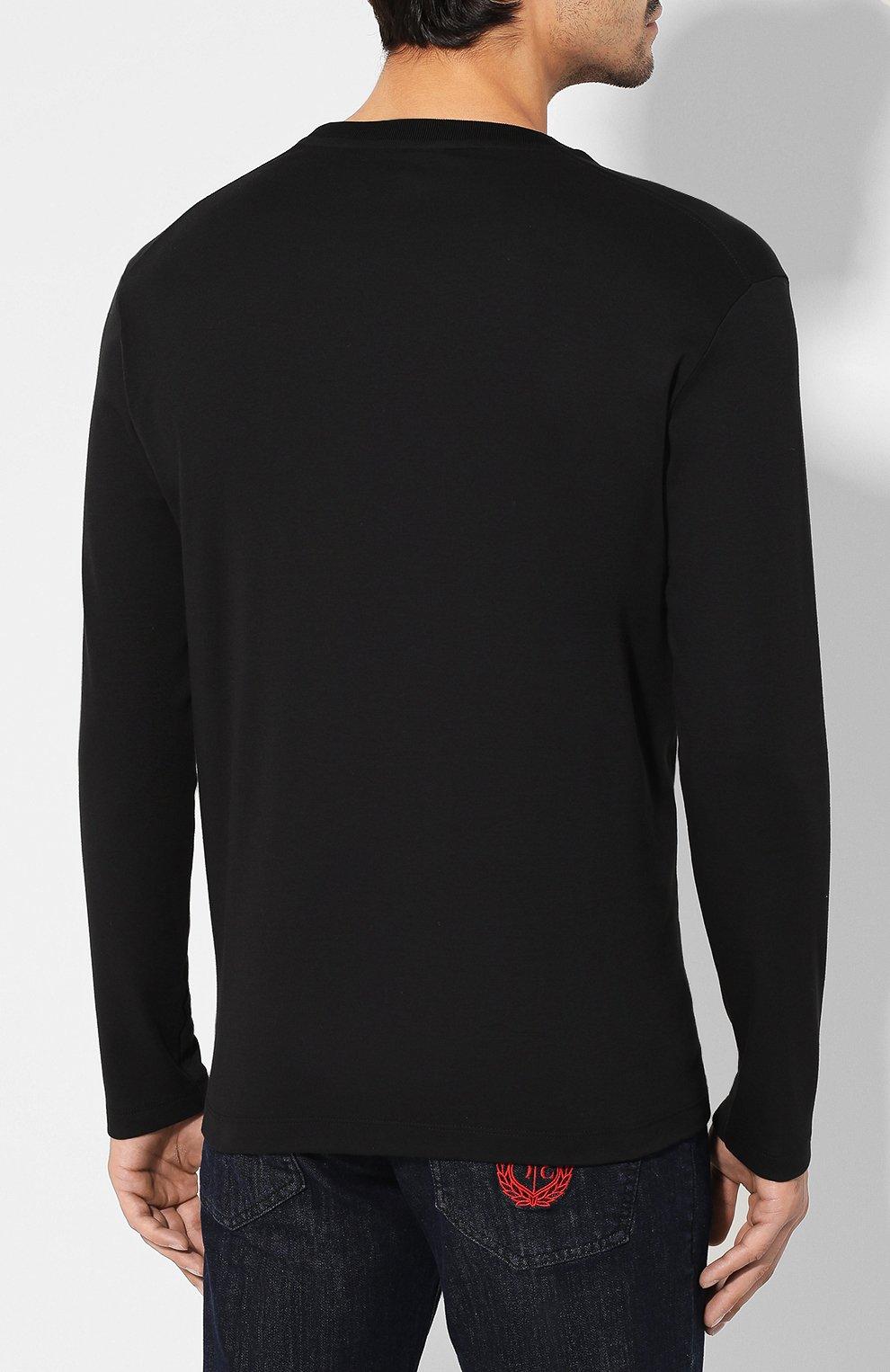 Мужская хлопковый лонгслив PAUL&SHARK черного цвета, арт. A19P1603 | Фото 4
