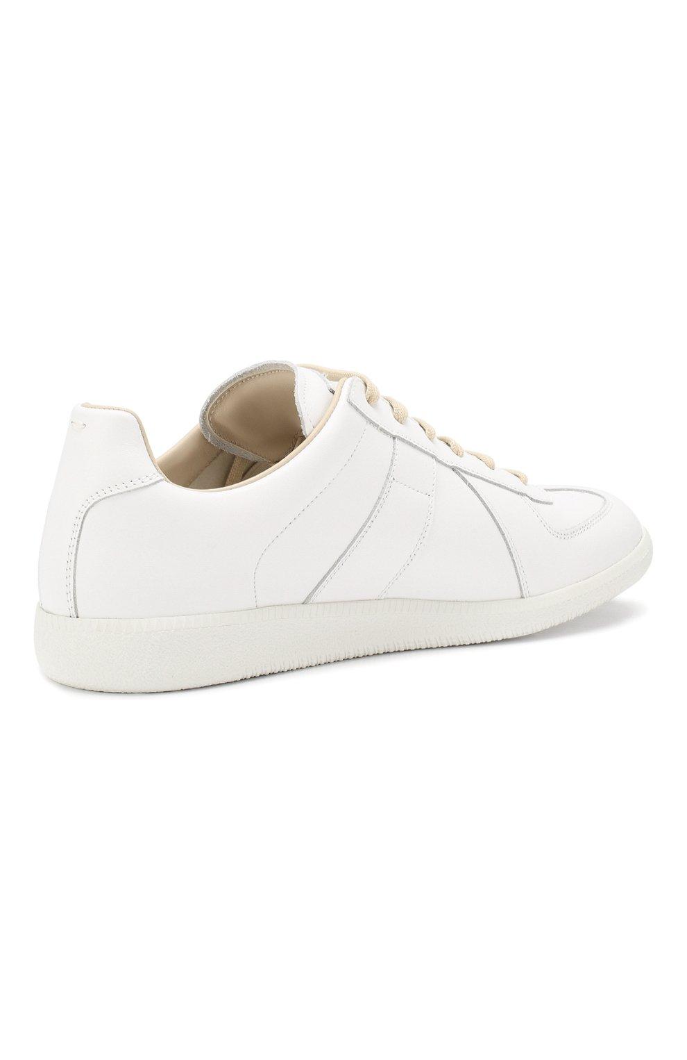 Мужские кожаные кеды MAISON MARGIELA белого цвета, арт. S57WS0280/P2712 | Фото 4