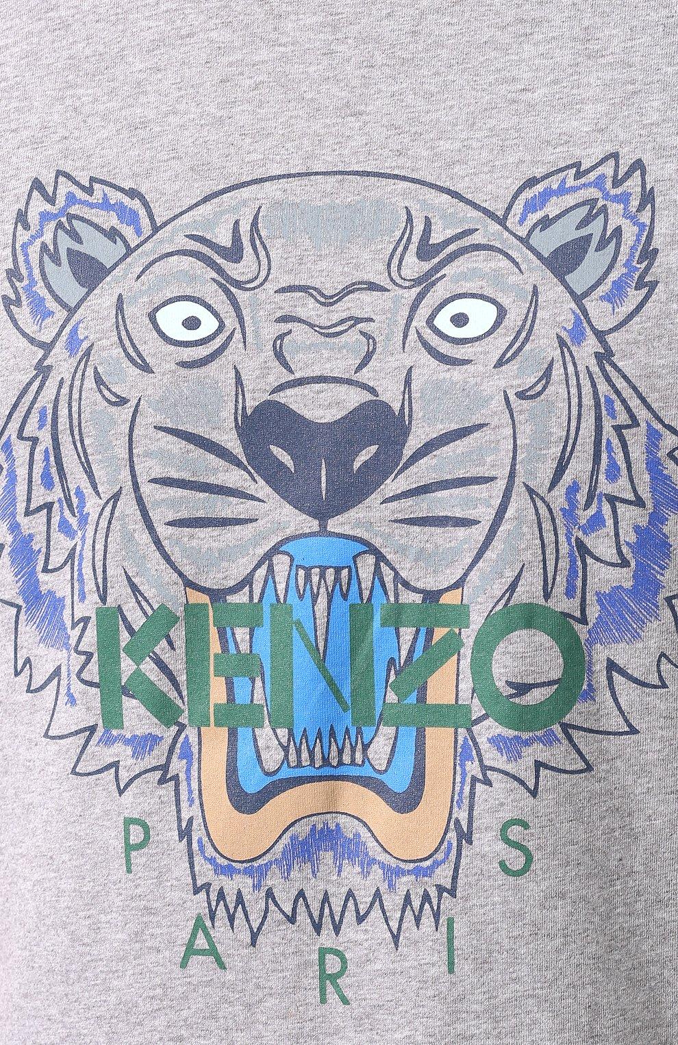 Мужская хлопковая футболка KENZO серого цвета, арт. F965TS0504YA | Фото 5