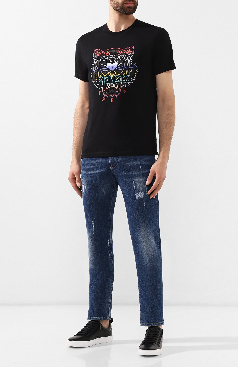 Мужская хлопковая футболка KENZO черного цвета, арт. F965TS0264YE | Фото 2