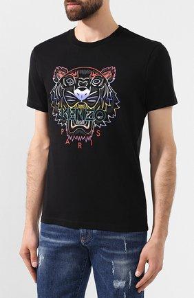 Мужская хлопковая футболка KENZO черного цвета, арт. F965TS0264YE | Фото 3