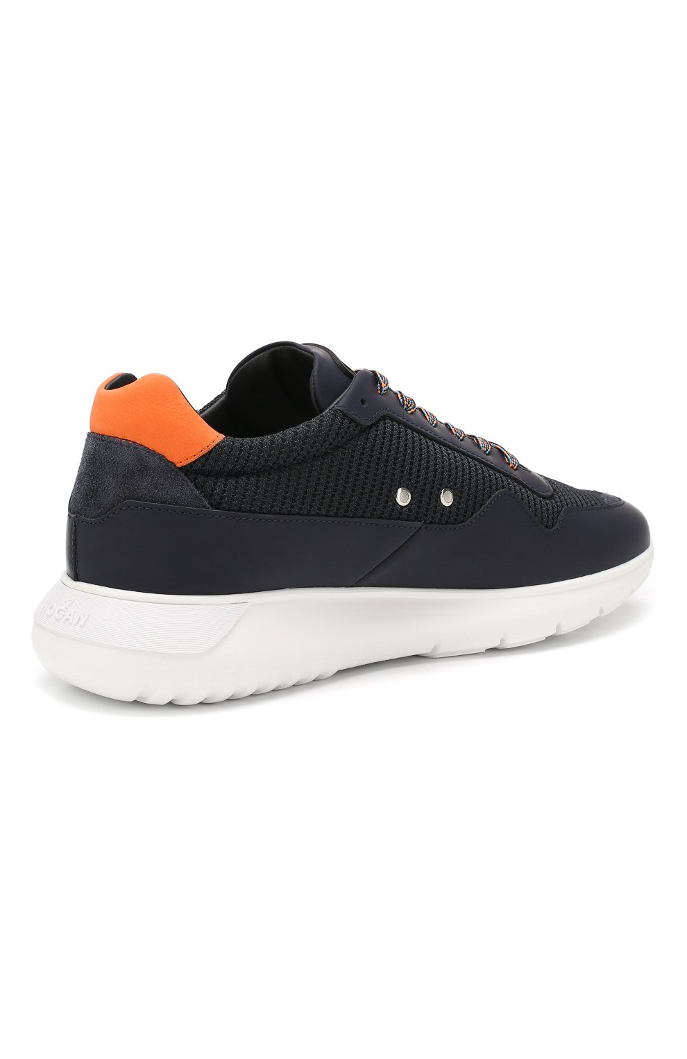 Мужские комбинированные кроссовки HOGAN темно-синего цвета, арт. HXM3710AJ11M0F | Фото 4