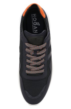 Мужские комбинированные кроссовки HOGAN темно-синего цвета, арт. HXM3710AJ11M0F | Фото 5