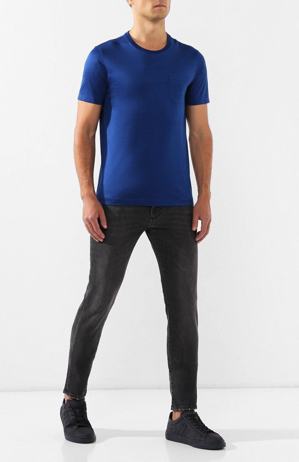 Мужские кожаные кеды HOGAN темно-синего цвета, арт. HXM3650J310LJA   Фото 2
