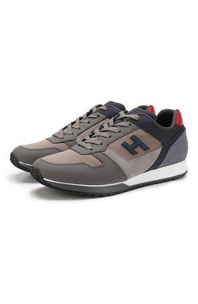 Мужские комбинированные кроссовки HOGAN серого цвета, арт. HXM3210Y860LIK | Фото 1