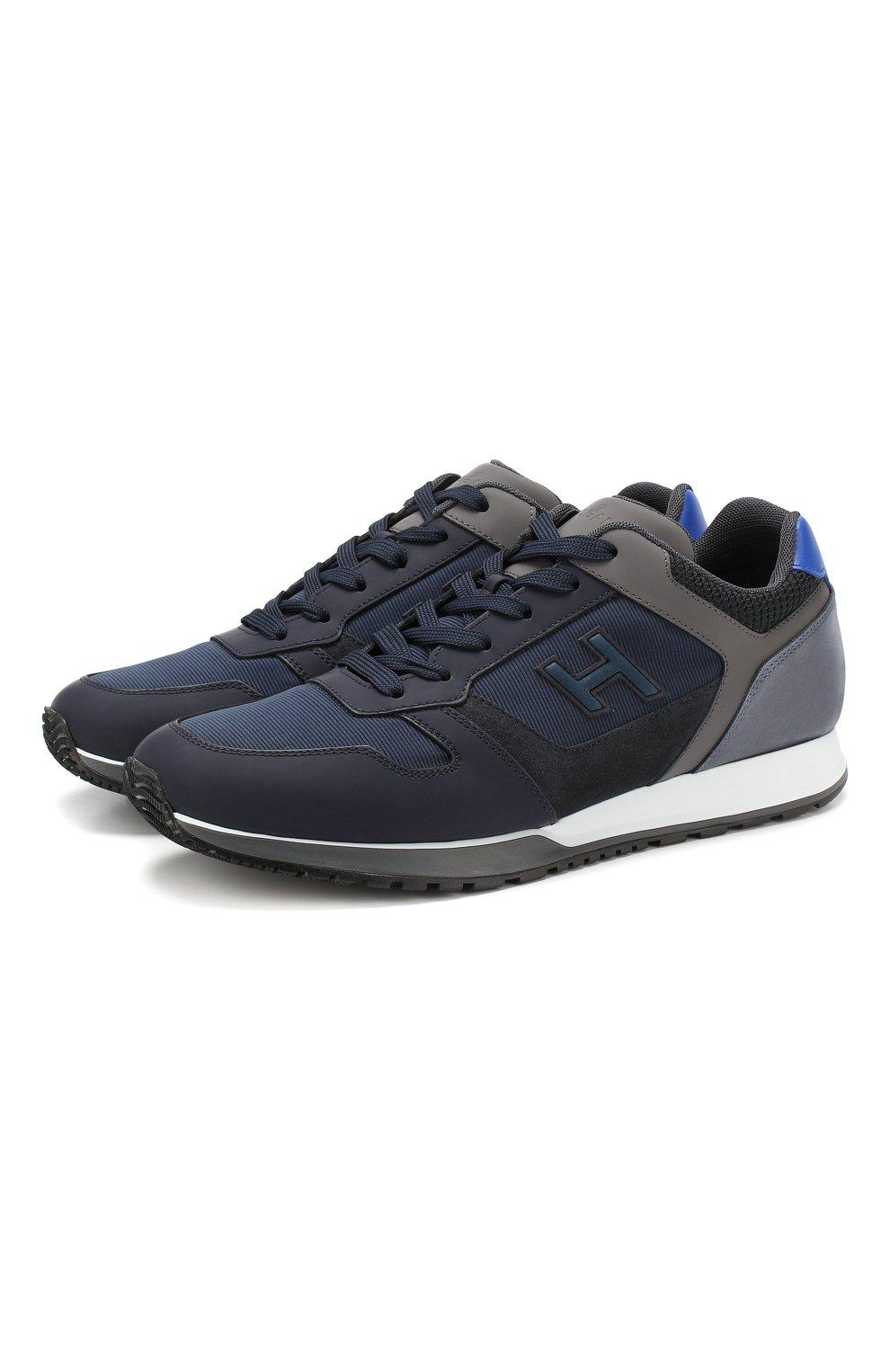 Мужские комбинированные кроссовки HOGAN синего цвета, арт. HXM3210Y860LIK | Фото 1