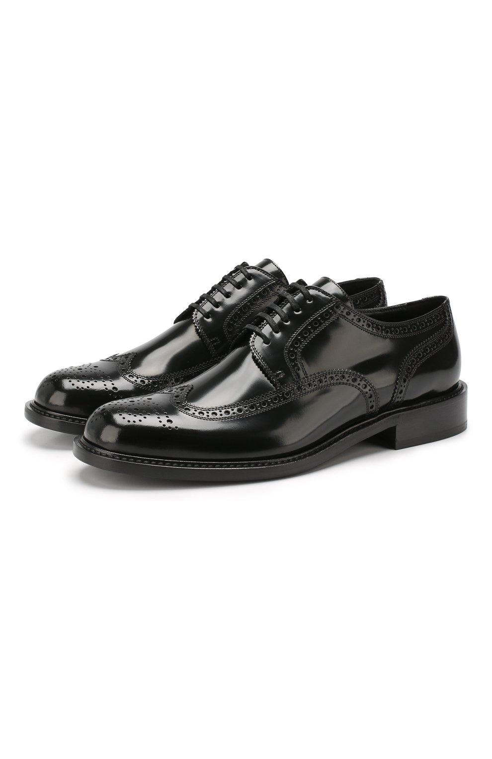 Мужские кожаные дерби SAINT LAURENT черного цвета, арт. 581727/BSS00   Фото 1