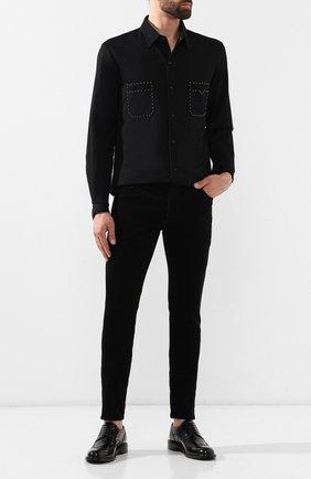 Мужские кожаные дерби SAINT LAURENT черного цвета, арт. 581727/BSS00   Фото 2